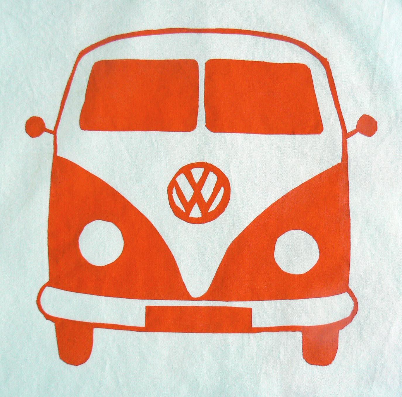 Freezer Paper Stencils: VW Bus Pillowcases |