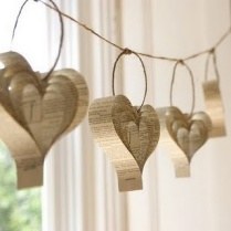 upcycled book hearts