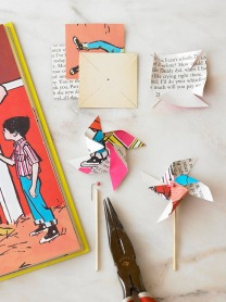 upcycled book pinwheel