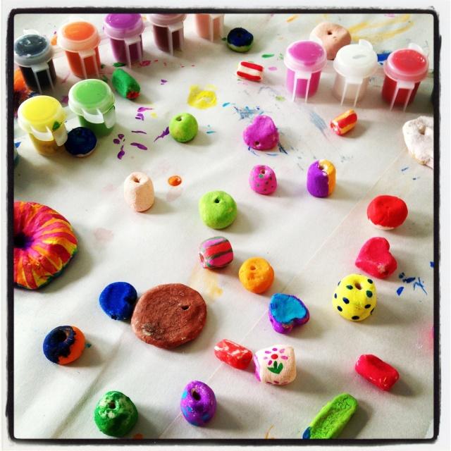 Salt dough beads--somewhat soggy!