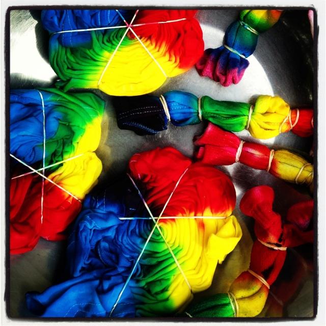 Tie-dye spirals--in process